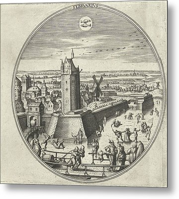 February, Adriaen Collaert, Hans Bol, Hans Luyck Metal Print by Adriaen Collaert And Hans Bol And Hans Luyck