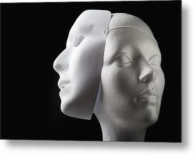 Female Mannequin And Mask Metal Print