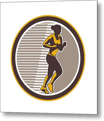 Female Marathon Runner Side View Retro Metal Print by Aloysius Patrimonio