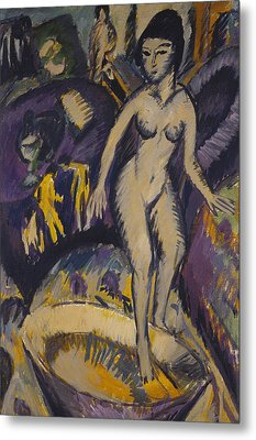 Female Nude With Hot Tub Metal Print by Ernst Ludwig Kirchner