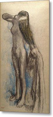 Femme Se Coiffant Metal Print by Edgar Degas