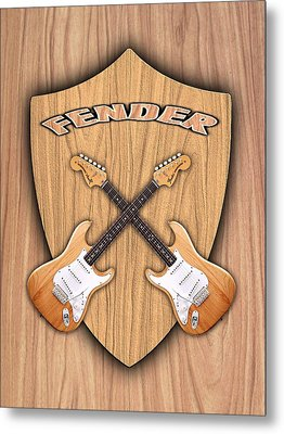 Fender Stratocaster Natural Color Shield Metal Print by Doron Mafdoos