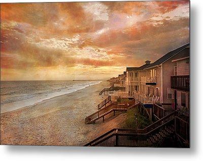 Fiery Calm Coastal Sunset Metal Print by Betsy Knapp