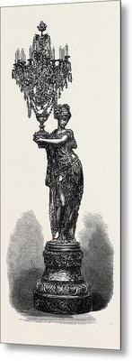 Figure Holding Candelabrum By The Compagnie Des Marbres Metal Print by English School