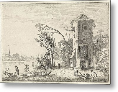 Figures In A Winter Landscape With A Tower Metal Print