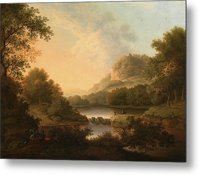 Figures With A Donkey And Dog Crossing A Weir Signed Metal Print