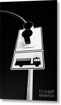 fire engine stop sign and signal Saskatoon Saskatchewan Canada Metal Print by Joe Fox