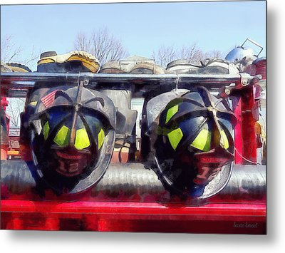 Fire Helmet And Boots Metal Print by Susan Savad