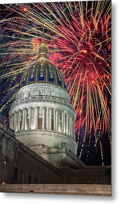 Fireworks At Wv Capitol Metal Print by Mary Almond
