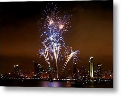 Fireworks Over San Diego Skyline Metal Print by Jetson Nguyen