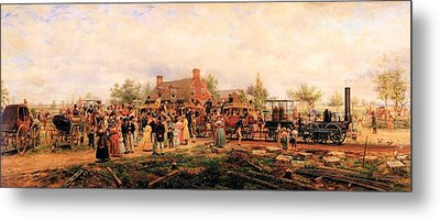 First Railroad Train On The Mohawk And Hudson Metal Print by Edward Henry