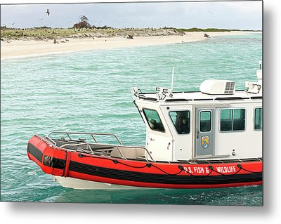 Fish And Wildlife Boat At Eastern Island Metal Print by Daisy Gilardini