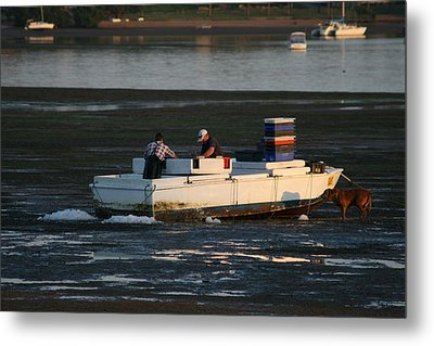 Fishermen And Dog Metal Print