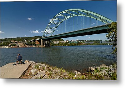 Fisherman At Birmingham Bridge Pittsburgh Pennsylvania Metal Print by Amy Cicconi