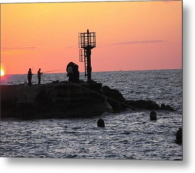 Fishermen At Sunset Metal Print by Lionel Gaffen