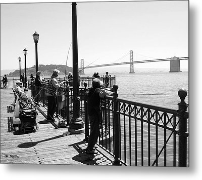 Metal Print featuring the photograph San Francisco - Fishing At The Pier by Haleh Mahbod