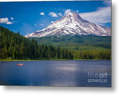 Fishing On Trillium Lake Metal Print by Inge Johnsson