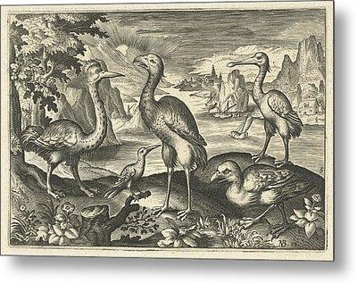 Five Birds Including Spoonbill, Anonymous Metal Print by Artokoloro