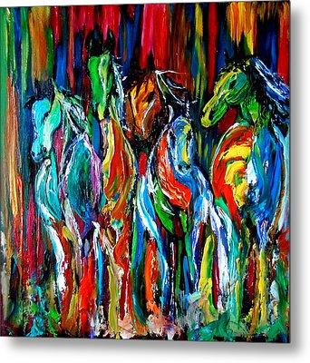Five Horses Metal Print by Maris Sherwood