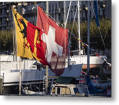 Metal Print featuring the photograph Flags by Muhie Kanawati