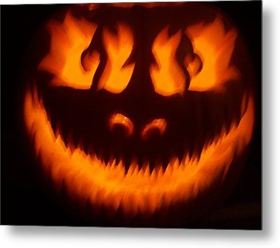 Metal Print featuring the sculpture Flame Pumpkin by Shawn Dall
