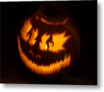 Metal Print featuring the sculpture Flame Pumpkin Side by Shawn Dall