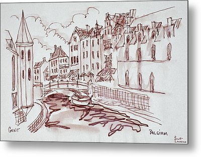 Flemish Architecture Along A Canal Metal Print