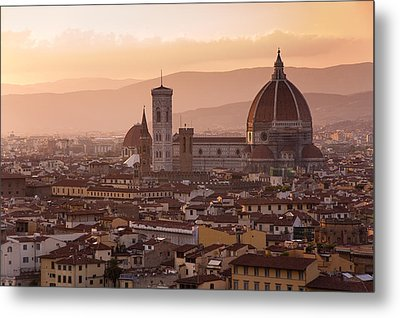 Florence Skyline At Sunset Metal Print