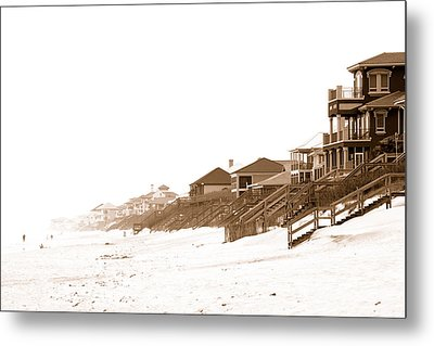 Metal Print featuring the photograph Florida Beach Sepia Print by Charles Beeler