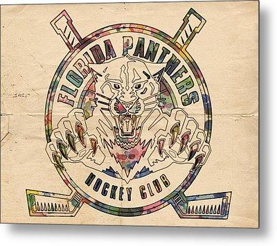 Florida Panthers Vintage Art Metal Print