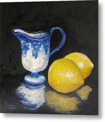 Flow Blue Creamer And Lemons Metal Print