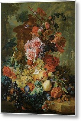 Flower And Fruit Piece Metal Print by Jan Van Huysum