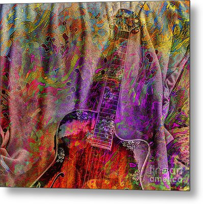 Flower Power Digital Guitar Art By Steven Langston Metal Print by Steven Lebron Langston