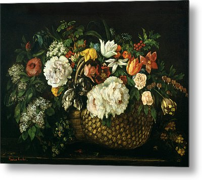 Flowers In A Basket, 1863 Metal Print by Gustave Courbet