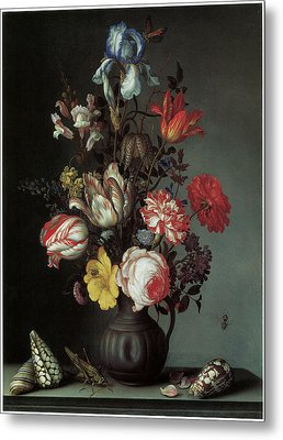 Flowers In A Vase With Shells And Insects Metal Print by Balthasar Van Der Ast
