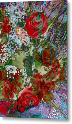 Metal Print featuring the digital art Flowers In Bloom by Liane Wright