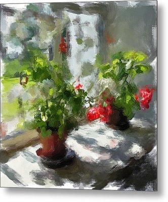 Flowers On The Window Metal Print by Yury Malkov