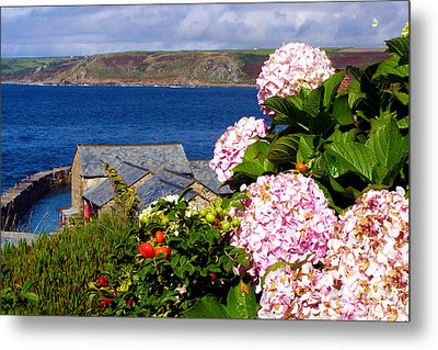 Flowers With A Sea View Metal Print by Terri Waters