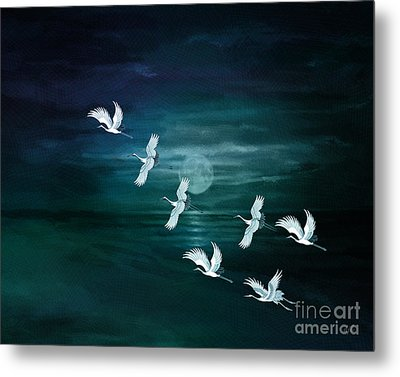 Flying By The Moon Bay Metal Print by Bedros Awak