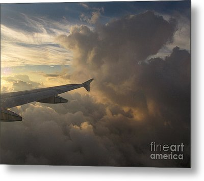 Metal Print featuring the photograph Flying In The Clouds by Inge Riis McDonald
