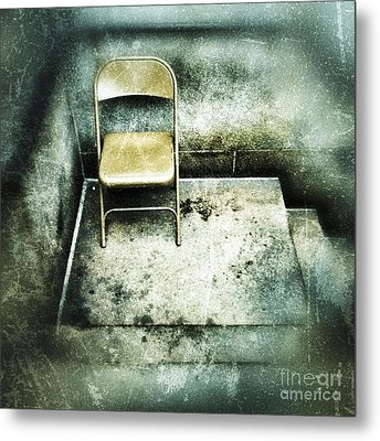 Folding Chair On Stoop Metal Print by Amy Cicconi
