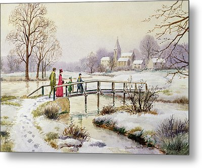 Footbridge In Winter Metal Print