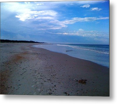 Footprints In The Sand Metal Print by Julie Wilcox