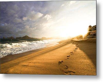 Footsteps In The Sand Metal Print by Eti Reid