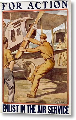 For Action, Enlist In The Air Service Metal Print by Otho Cushing