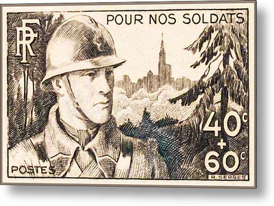 For Our Soldiers Stamp Metal Print