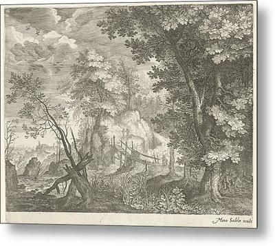 Forest Landscape With Wooden Bridge, Aegidius Sadeler Metal Print