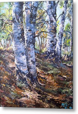 Metal Print featuring the painting Forest Walk by Megan Walsh