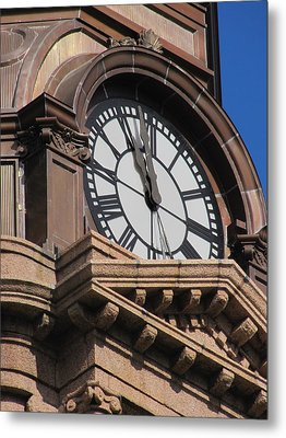 Fort Worth Texas Courthouse Clock Metal Print by Shawn Hughes