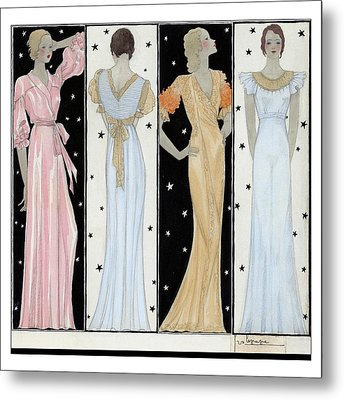 Four Women In Designer Evening Gowns Metal Print by Georges Lepape